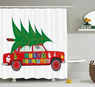 The Holiday Aisle Christmas Car w/ Xmas Tree Shower Curtain; 69'' H x 75'' W WYF078281540902