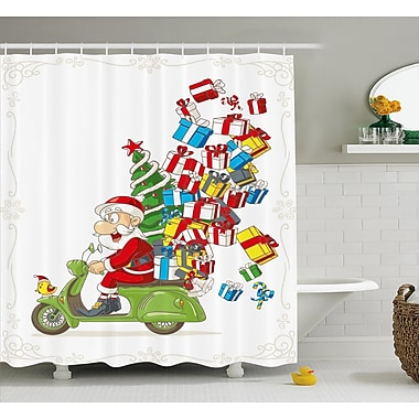 The Holiday Aisle Christmas Santa on Motorbike Scooter Shower Curtain; 69'' H x 70'' W