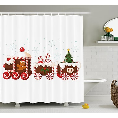 The Holiday Aisle Christmas Candy Train Shower Curtain; 69'' H x 84'' W