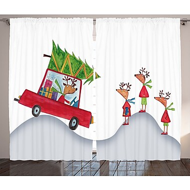Christmas Reindeer Family Graphic Print Room Darkening Rod Pocket Curtain Panels (Set of 2)