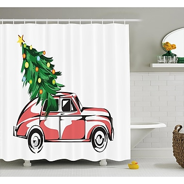 The Holiday Aisle Christmas Retro Classic Car Shower Curtain; 69'' H x 75'' W