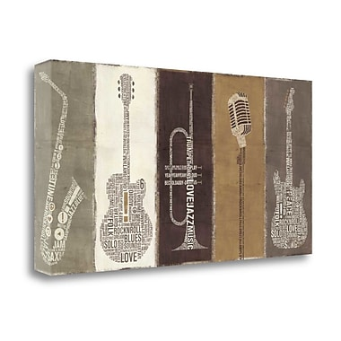 Tangletown Fine Art 'Type Band Neutral Panel' Textual Art on Wrapped Canvas; 17'' H x 34'' W