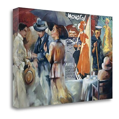 Tangletown Fine Art 'Cafe Bon Voyage' Graphic Art Print on Wrapped Canvas; 32'' H x 48'' W