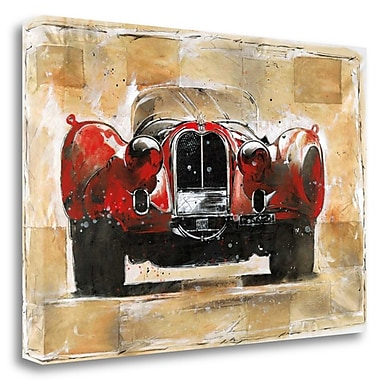 Tangletown Fine Art 'Vintage Red' Graphic Art Print on Wrapped Canvas; 23'' H x 34'' W