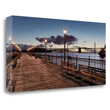 Tangletown Fine Art 'Broadway Pier Pano - 114' Print on Wrapped Canvas; 20'' H x 39'' W