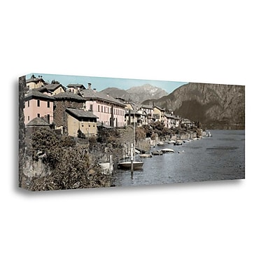 Tangletown Fine Art 'Italian Lake Pano - 1' Photographic Print on Wrapped Canvas; 16'' H x 48'' W