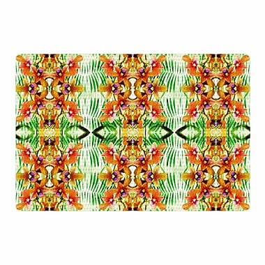 East Urban Home Dawid Roc Tropical Flowers Palm Leaves Pattern Yellow Area Rug; 2' x 3'