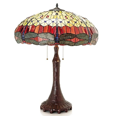 August Grove Orsini Dragonfly Tiffany 30'' Table Lamp