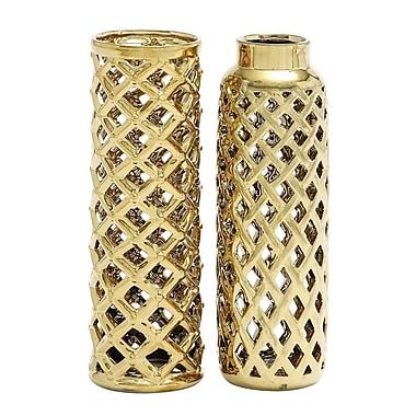 Willa Arlo Interiors 2 Piece Cylinder Ceramic Vase Set; Golden