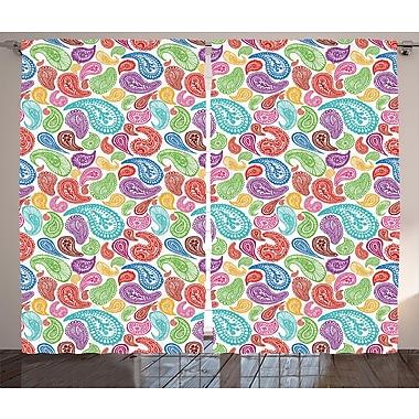 Zoomie Kids Matanna Flowers and Leaves Decor Room Darkening Rod Pocket Curtain Panels (Set of 2)