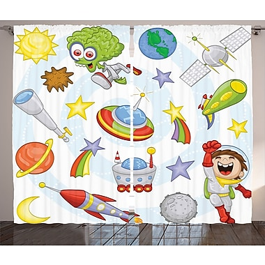 Zoomie Kids Ramino D cor Graphic Print Room Darkening Rod Pocket Curtain Panels (Set of 2)