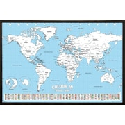 Zoomie Kids 'World Map Color' Rectangle Wood Framed Graphic Art Print Poster