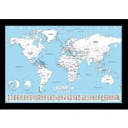 Zoomie Kids 'World Map Color' Horizontal Framed Graphic Art Print Poster