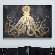 Willa Arlo Interiors 'Squid Gold' Graphic Art on Wrapped Canvas; 40'' H x 60'' W