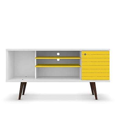 George Oliver Lewis Mid Century Modern 53.14'' TV Stand w/ 5 Shelves and 1 Door; White/Yellow