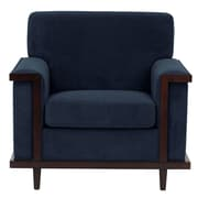 Darby Home Co Mahowny Retro Trim Club Chair; Navy