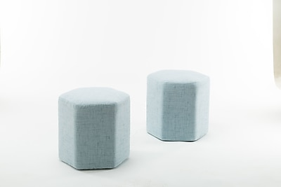 George Oliver Royalton Hexagon Bench Ottoman (Set of 2); Light Blue