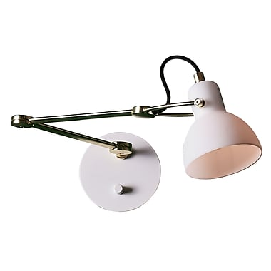SeedDesign Laito 1-Light Swing Arm; White/Matte Brass