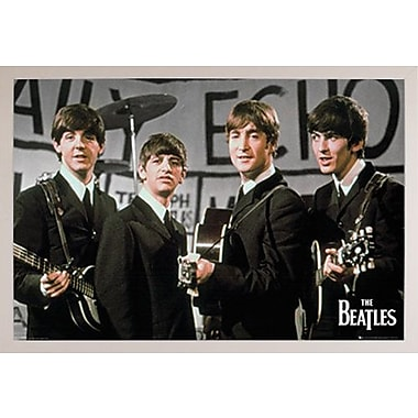 East Urban Home 'The Beatles Daily Echo' Rectangle Framed Graphic Art Print Poster; White Framed