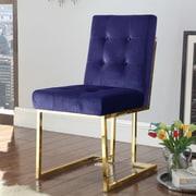 Everly Quinn Zoila Upholstered Dining Chair; Navy