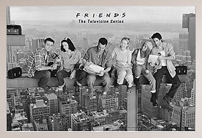 Frame USA 'Friends - Black & White' Framed Graphic Art Print Poster; White Framed