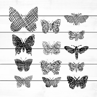 Ivy Bronx 'Patterned Butterflies' Painting Print on White Wood; 18'' H x 18'' W