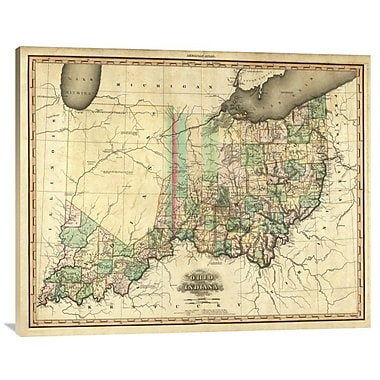 East Urban Home Ohio and Indiana, 1823' Print on Canvas; 32'' H x 40'' W x 1.5'' D