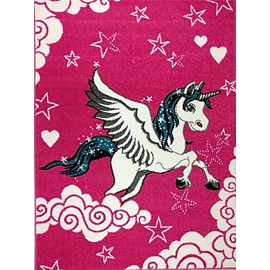 Zoomie Kids Angelia Bedroom Decor Pink Area Rug; 5'3'' x 7'3''