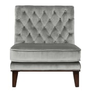 Brayden Studio Wille Tufted Velvet Slipper Chair; Gray
