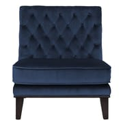 Brayden Studio Wille Tufted Velvet Slipper Chair; Navy