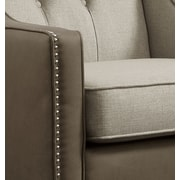Darby Home Co Kaven Linen Leatherette Nailhead Club Chair; Beige