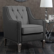 Darby Home Co Kaven Linen Leatherette Nailhead Club Chair; Black
