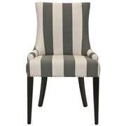 Brayden Studio Alpha Centauri Upholstered Side Chair in Linen - Grey Stripe w/ Carpenter Nailheads