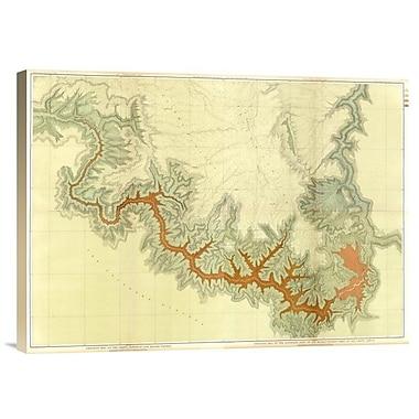 Grand Canyon - Composite: Geologic Map, S. Pt. Kaibab Plateau. I-Iv, 1882' Print on Canvas