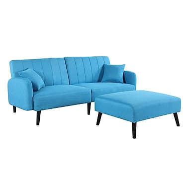 George Oliver Ryegate Mid Century Convertible Sofa; Sky Blue