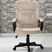 Ebern Designs Drago Office Microfiber High Back Padded Executive Chair; Beige