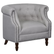 Alcott Hill Willisville Button Tufted Chesterfield Chair; Beige/Light Gray