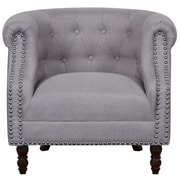 Alcott Hill Willisville Button Tufted Chesterfield Chair; Light Gray