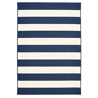 Breakwater Bay Henley Stripe Navy/White Indoor/Outdoor Area Rug; 6'7'' x 9'6''