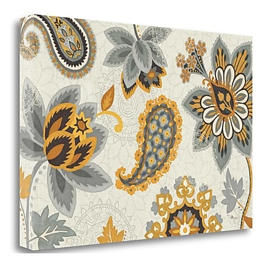 Tangletown Fine Art 'Decorative Nature I Yellow Gray Cream' Graphic Art Print on Wrapped Canvas