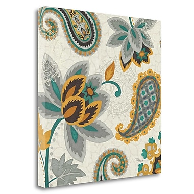 Tangletown Fine Art 'Decorative Nature II Turquoise Cream' Graphic Art Print on Wrapped Canvas