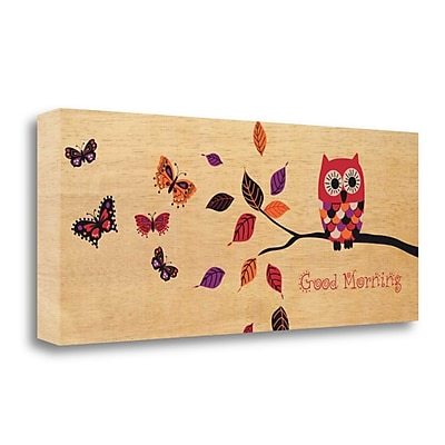 Tangletown Fine Art 'Good Morning Owl' by Wild Apple Portfolio Graphic Art on Wrapped Canvas