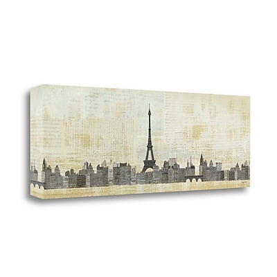 Tangletown Fine Art 'Eiffel Skyline' Print on Wrapped Canvas; 12'' H x 34'' W