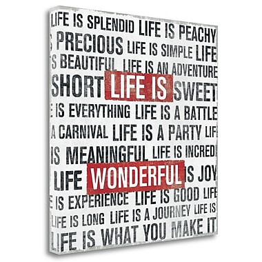 Tangletown Fine Art 'Life is' Textual Art on Wrapped Canvas; 24'' H x 24'' W