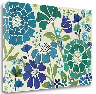 Tangletown Fine Art 'Blue Garden' Graphic Art Print on Wrapped Canvas; 26'' H x 39'' W