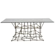 WorldsAway Iron Dining Table w/ Glass Top; Silver Leaf