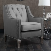 Darby Home Co Kaven Linen Leatherette Nailhead Club Chair; Gray