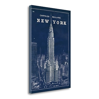 Tangletown Fine Art 'Blueprint Map New York Chrysler Building' Graphic Art Print on Wrapped Canvas