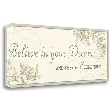 Tangletown Fine Art 'Believe in your Dreams' Textual Art on Wrapped Canvas; 13'' H x 32'' W