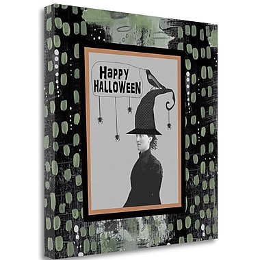 Tangletown Fine Art 'Halloween Witch and Crow' Graphic Art Print on Wrapped Canvas; 25'' H x 25'' W